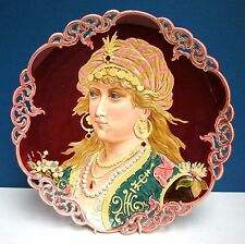 LARGE 15 1/2 inch MAJOLICA PORTRAIT CHARGER Austrian or French circa 1900