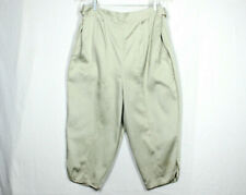 Vtg 50s Maternity Shorts M/L Cotton Clam Diggers Adjustable Waist Pintuck Front