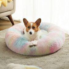 New listing Donut Round Pet Bed Large Soft Plush Cushion Machine Washable 6 Gradient Colors