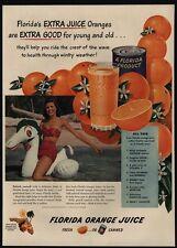 1949 Pretty Woman Rides Blow-Up Sea Horse - FLORIDA Orange Juice VINTAGE AD