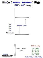 Deep Drop fishing Rigs Striper Drum Grouper Ling Cod No Hooks Complete HI-Lo