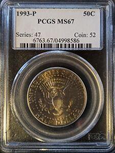 1993-p pcgs ms67 Kennedy Half Dollar Old Blue Holder Reverse facing Up!