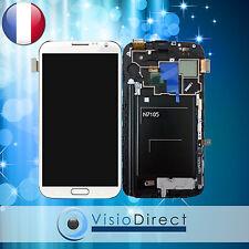 Ecran vitre complet sur chassis pour Samsung Galaxy Note 2 N7105 blanc