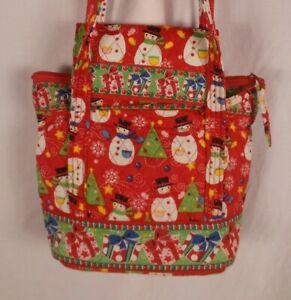 Quilted 100% Cotton Snowman Christmas Purse With Wallet Set Red Unbranded