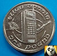 1991 ISLE OF MAN £1 One Pound Mobile Phone Technology Telecommunication Unc Coin