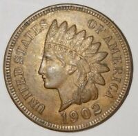 1902 Indian Head Cent Penny GEM High Grade LIBERTY 4 DIAMONDS  *FREE SHIPPING*