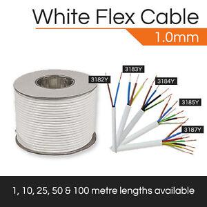 WHITE FLEXIBLE CABLE 1MM 2 CORE - 5 CORE DOMESTIC FLEX CABLE 1M-100M HO5VV-F
