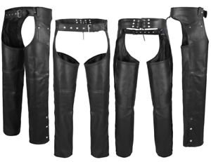 ARD Black Motorcycle Leather Chaps Pants Biker Cowboy Riding Racing S to 6XL