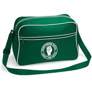 Unisex Northern Soul Retro Shoulder Bag With Embroidered Fist Logo. Mod. Ska