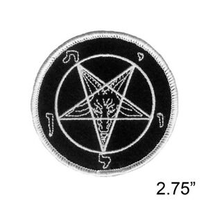 Pentagram Patch Iron on Applique Alternative DIY Clothing Jacket Jean Bag etc Accessory Biker Rider Chopper Big bike Satan Black Star Devil