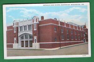US INDIANA - WASHINGTON, CATHOLIC HIGH SCHOOL AUDITORIUM  VINTAGE PC  48