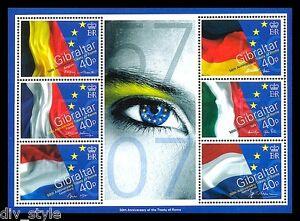 Treaty of Rome Souvenir Sheet mnh 50th Anniversary 2007 Gibraltar #1066 flags
