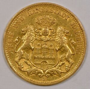 1887 Germany/Hamburg 20 Mark Gold Coin, Shield with Lions