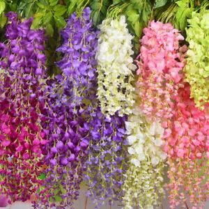 24x Artificial Fake Hanging Wisteria Silk Flowers Vine Plant Home Garden Decor