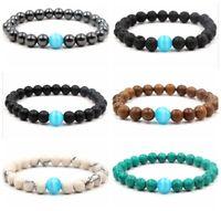 Charm Women Men Beaded Bracelets Wooden Hematite Lava 8MM Stone Beaded Bracelets
