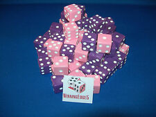 NEW 200 ASSORTED OPAQUE DICE 16mm PINK  AND PURPLE 100 OF EACH COLOR