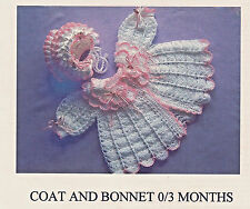 Crochet Pattern - Beautiful Baby Coat and Bonnet  - 0-3 months or Reborn Doll