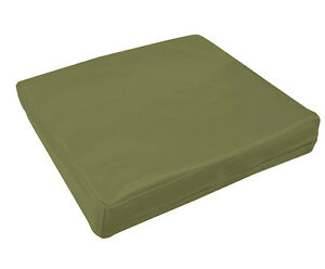 pe207t Olive Faux Leather Classic Pattern 3D Box Seat Cushion Cover Custom Size