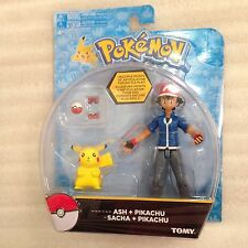 "New Pokemon Ash ~5"" Pikachu ~2"" figures Pokedex Pokeball Tomy authentic"