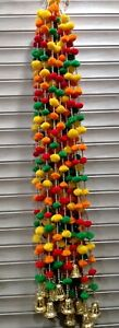 multicolor pom pom string with bell for wall and door wedding,diwali,home decor