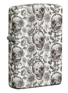 Zippo Lighter Glow in the Dark Skulls 49458 Matte NEW & Flints