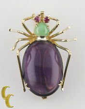 14k Yellow Gold Spider Brooch w/ Amethyst, Jade, and Ruby Eyes Unique Gift