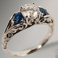 Antique 925 Silver White Topaz Ring Women Sapphire Wedding Jewelry Gift Size6-10
