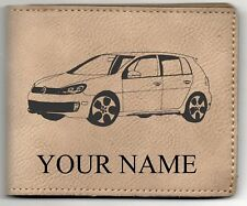Volkswagen MkIV GTI Leather Billfold With Drawing & Your Name On It-Nice Quality