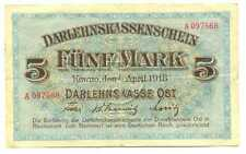 Germany WWI Occupation of Lithuania 5 Mark 1918 #467