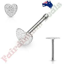 316L Surgical Steel Nose Bone Stud Ring with Silver Sandbast Finish Heart Top