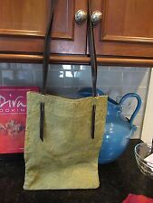 Alchimia Olive Green Textured Black Leather Strap Shoulder Tote Bag Made  Italy b13e3ed8b8ccf