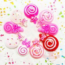 Random 10 pcs Polymer Clay Cabochons Lollipop Design Flatback Craft Decor 2-4cm