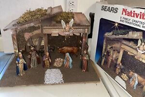Vintage Sears Nativity Set of 9 Figures Wood Stable Made In Italy 32-97887 W/Box