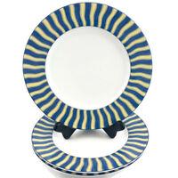 Noritake Impromptu SUMMER WAVES Porcelain Stripe  Dessert Salad Plate 4096 Set 3