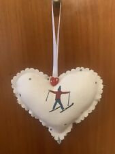 SOPHIE ALLPORT SKIING FBRIC HANDMADE  HANGING HEART DECORATION.