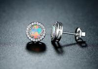 Sevil 18K White Gold Plated Created Opal Halo Stud Earrings W Swarovski Elements