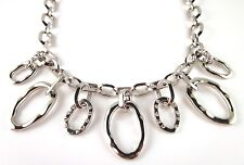 £95 Celtic Silver Charm Pendant Chain Link Necklace Swarovski Elements Crystal