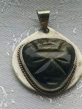 Large Pendant w/ Translucent Stone Vintage Rare Silver Mexican Teotihuacan