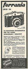 W8755 Macchina fotografica FERRANIA Ibis 34 - Pubblicità del 1958 - Vintage ad