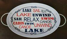 Ashland Summer Living Picnic Metal Food Lake Nautical Tray, NEW