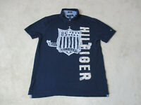 VINTAGE Tommy Hilfiger Polo Shirt Adult Large Blue White Crest Spell Out Mens