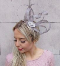 50766acd9abe2 Grey Silver Sinamay Feather Fascinator Races Cocktail Alice Band Headband  4530