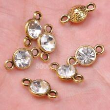 10/30pcs Tibetan Silver Crystal  bead beads Connectors Bails Antique Gold 11mm