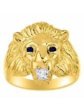 Diamond & Sapphire Lion Head Ring Gold Plated Silver
