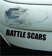 Battle Scars Funny Bumper Sticker Vinyl Decal Accident Crash Dent JDM