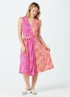 Isaac Mizrahi Live! Regular Ditsy Floral Contrast Knit Wrap Dress -Pink/Coral -S