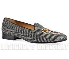 GUCCI men 11 TIGER Head Herringbone tweed GALLIPOLI loafers shoes NIB Auth $930!