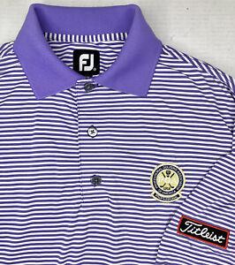 Footjoy Blue Striped PGA Tour ProDry Lisle Golf Polo Shirt Titleist Mens Small