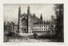 JAMES ALPHEGE BREWER Sgnd Vint 1920s-30s Ltd Ed Etching CAMBRIDGE KING'S COLLEGE