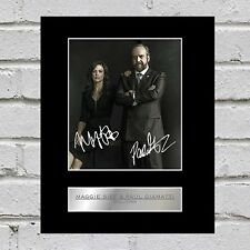 Maggie Siff and Paul Giamatti Signed Mounted Photo Display Billions